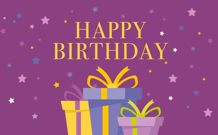 birthday card purple