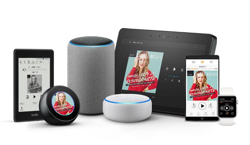 Escucha tus audiolibros en culaquier disposito, incluyendo iOS, Android, Sonos, Kindle, y dispositivos habilitados para Alexa.