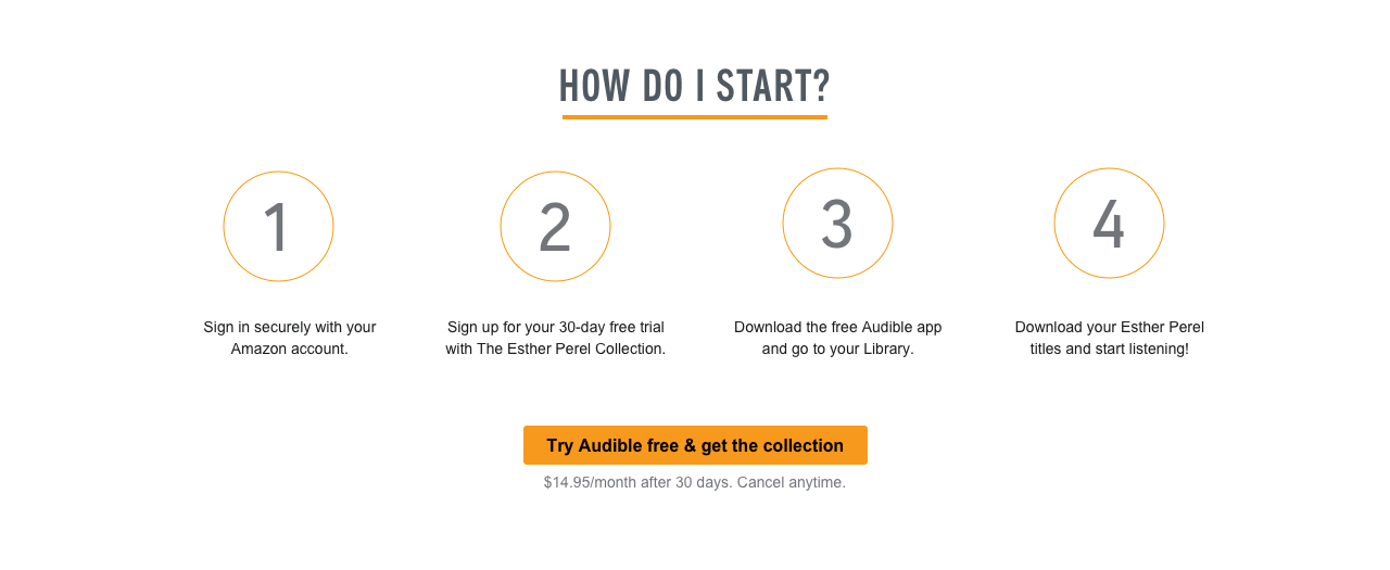 How Do I Start? 1. Sign in securely with your Amazon account. 2. Sign up for your 30-day free trial with The Esther Perel Collection. 3. Download the free Audible app and go to your library. 4. Download your Esther Perel titles and start listening! Try Audible free & get the collection. $14.95/month after 30 days. Cancel anytime.