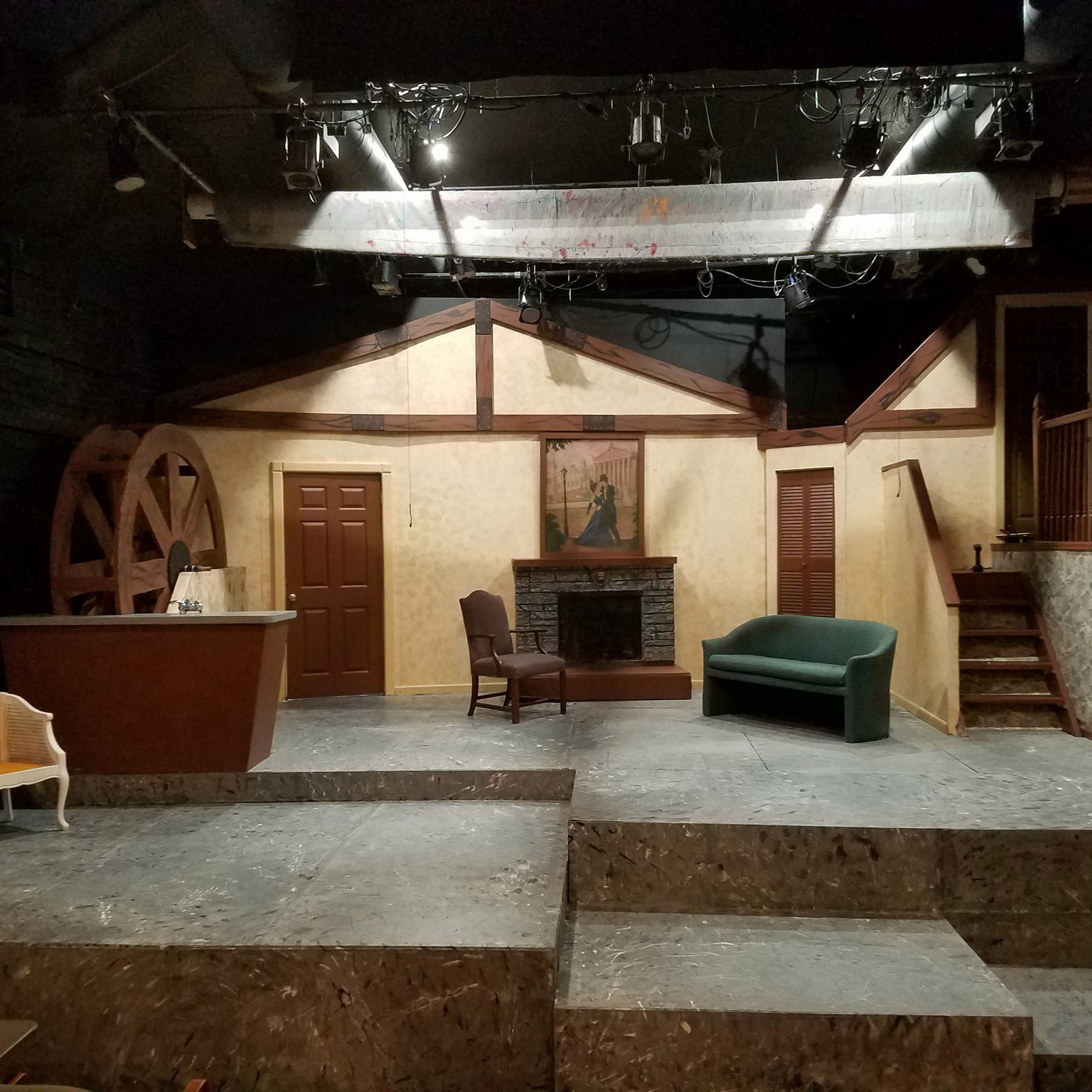 Theater set for <i>Accomplice</i> by Chrissy E. & her husband