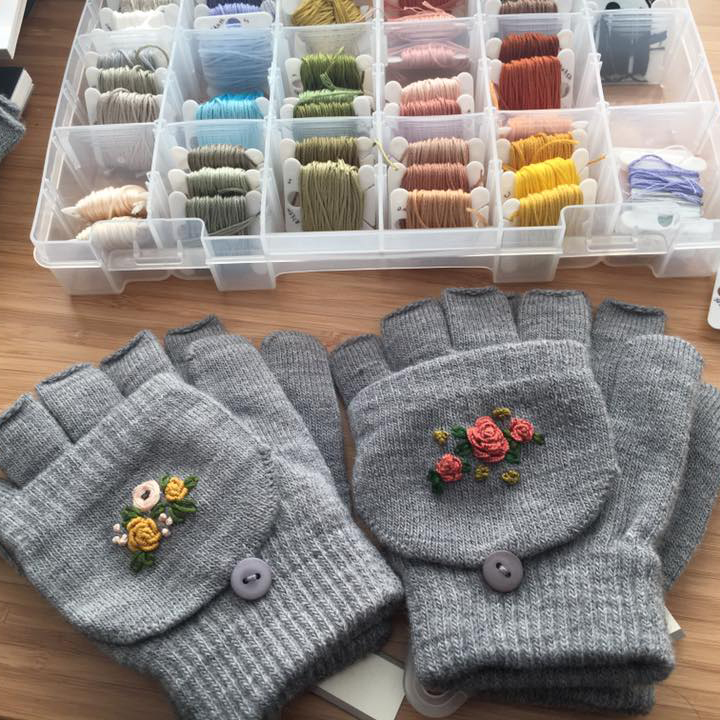 Embroidered gloves by Nina C.