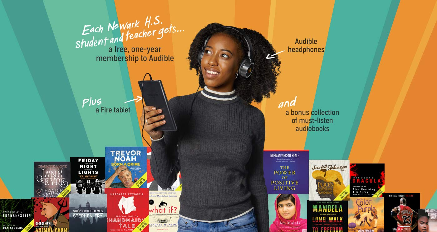 Audible is giving a free year of audiobooks to Newark high school students and teachers