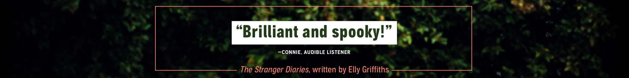 Brilliant and spooky! - Connie, Audible Listener; The Stranger Diaries by Elly Griffiths