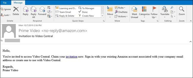 Screenshot of invitation email message