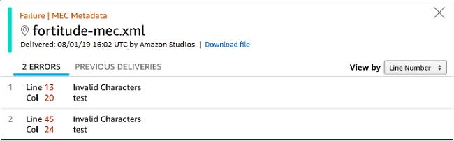 Screenshot of the validation failures dialog box