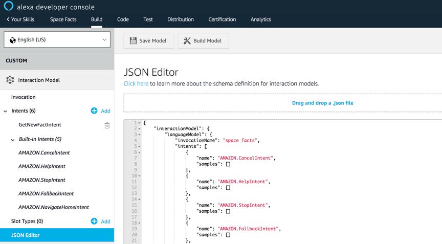 """Para conseguirlo, haz click en """"JSON Editor"""" en la barra izquierda. Esto despliega el modelo de interacción completo para la skill en formato JSON ..."""