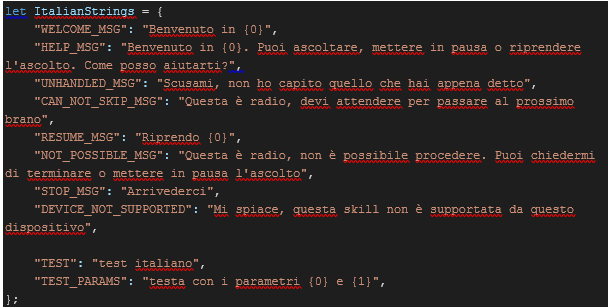 How to update your alexa skills for italy alexa blogs object contains seven objects one for each supported english language en ca en us en gb en in and en au one for french and one for italian m4hsunfo