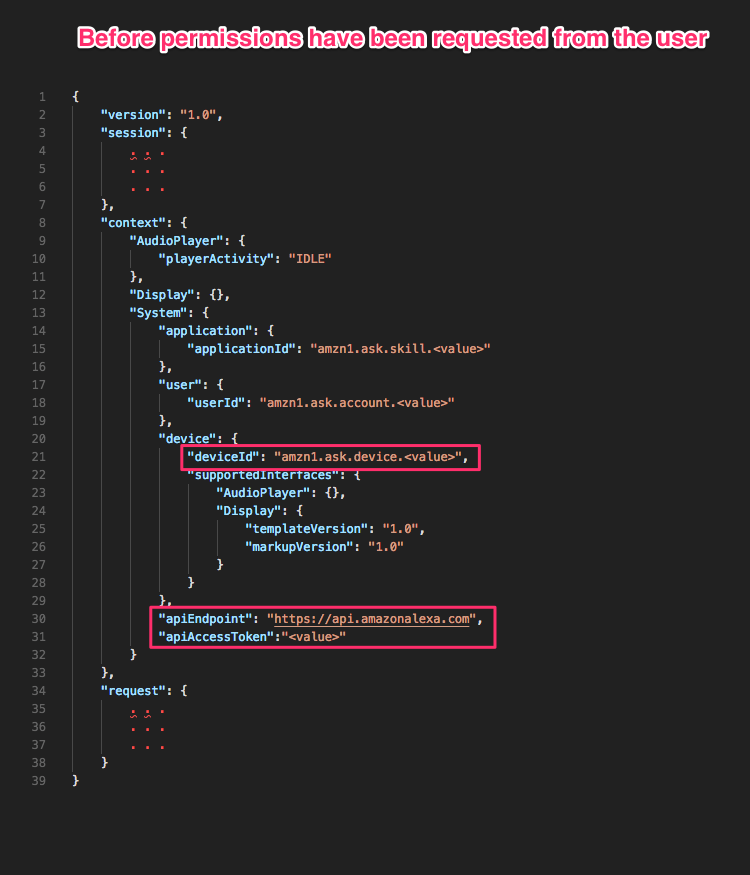 Alexa skill recipe using the device address api to enhance your heres an example of a request that your skill may receive forumfinder Images