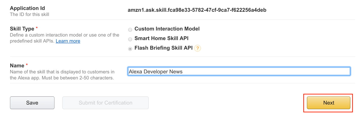 3. Select Flash Briefing Skill API, fill out a name and then click Next.