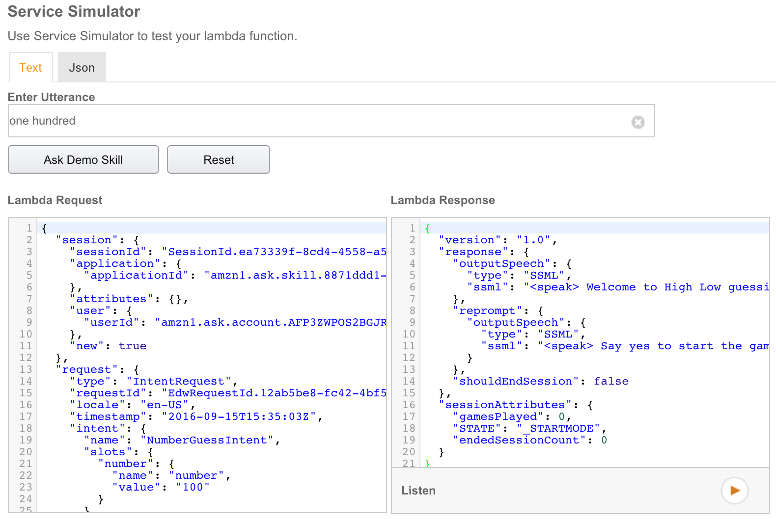 and look in the first text area called lambda request it should contain a complete json formatted request we can reuse in our local environment