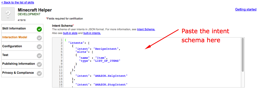 Paste the intent schema into the intent schema section of the