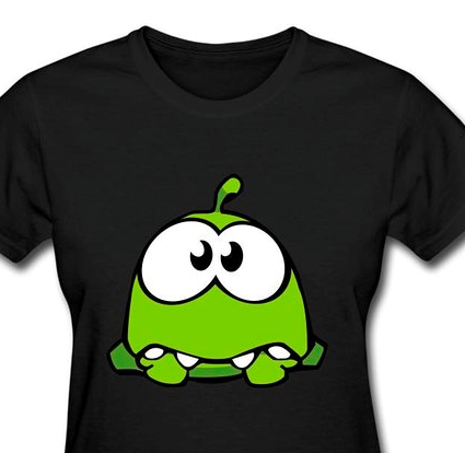 Text Box: Example of a Key Character shirt from Cut The Rope