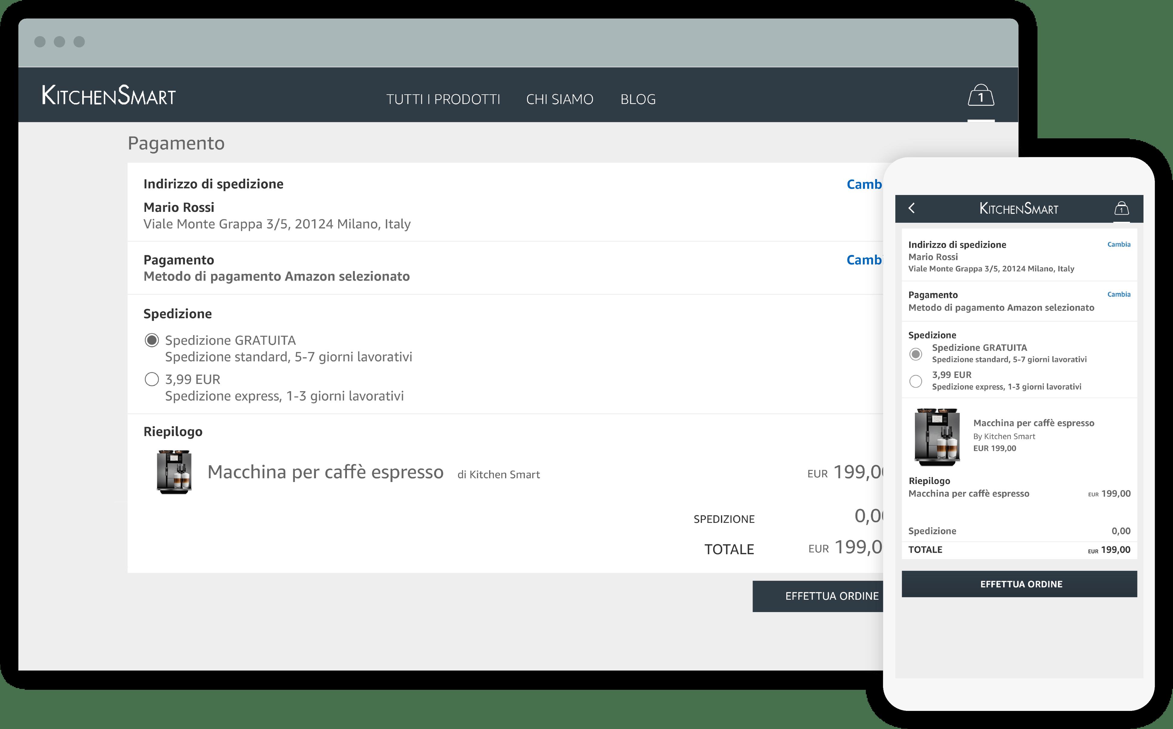 Acquistare online con Amazon Pay