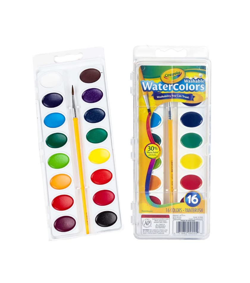 Crayola Watercolor Set with 16 colors and 1 Paint Brush