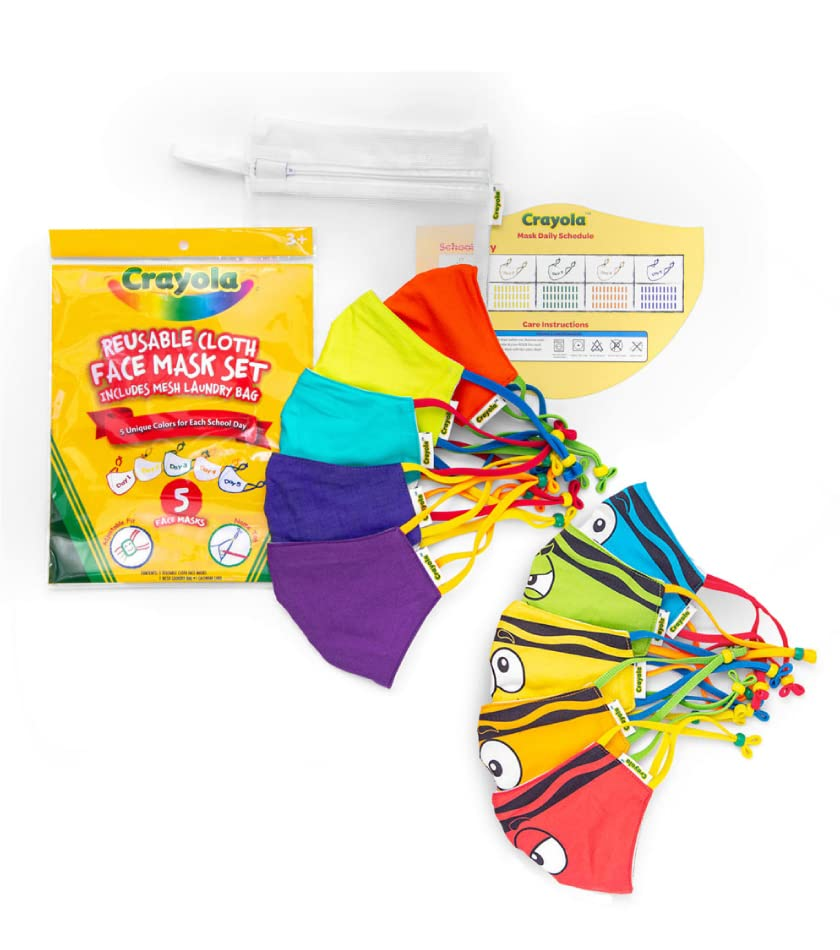 Colorful Crayola Face Masks for kids with mesh laundry bag