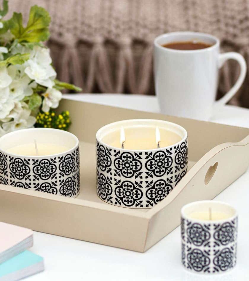 Fired Earth Black Tea & Jasmine Large Ceramic  Candle in Gift Box