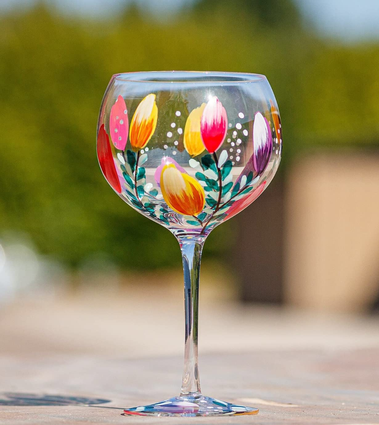 Lynsey Johnstone Hand Painted Tulips Gin Glass