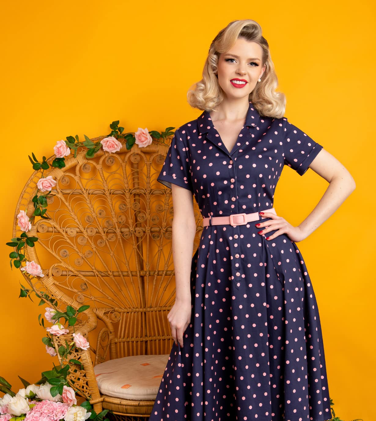 Collectif TopVintage 50s Caterina Pretty Polka Swing Dress in Navy and Pink