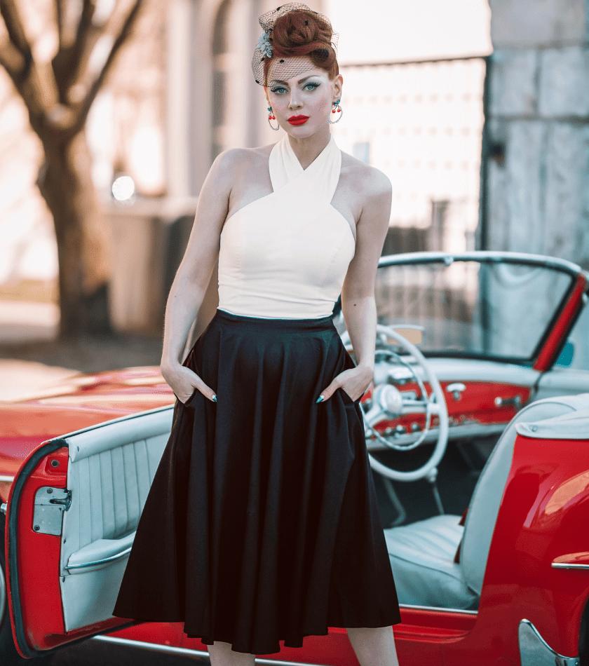 Vintage Diva  The Rosetta Halter Swing Dress in Black and Ivory