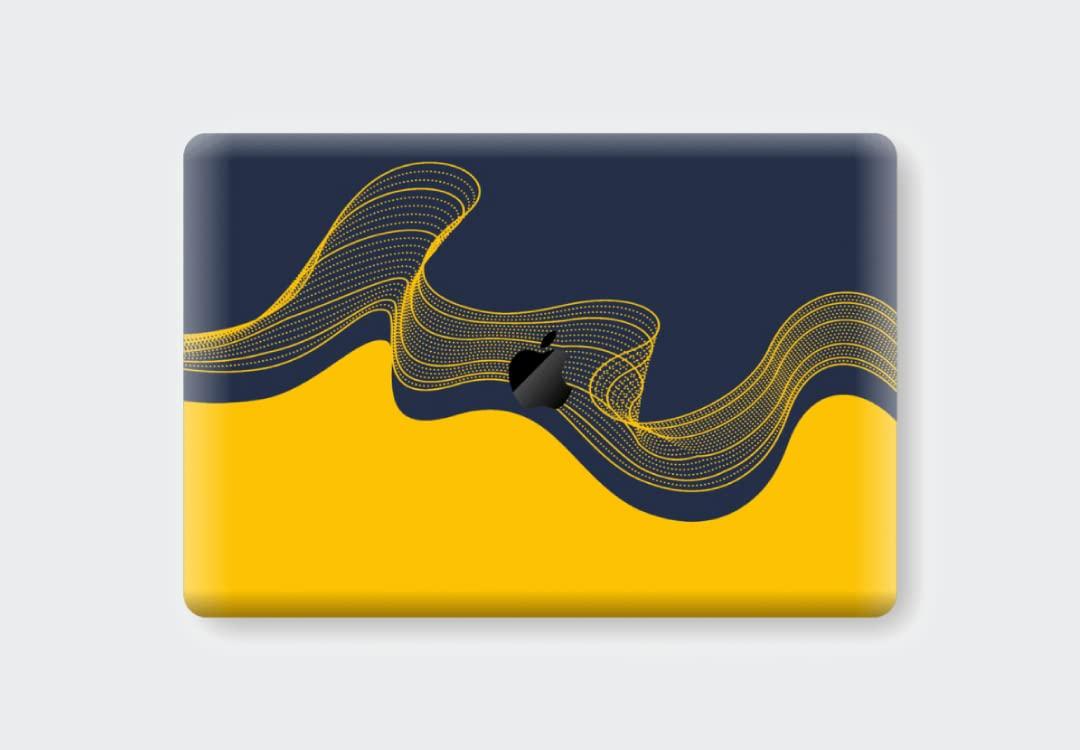 "EasySkinz MacBook Pro 13"" (2020) Signature Navy-Yellow Waves Skin"