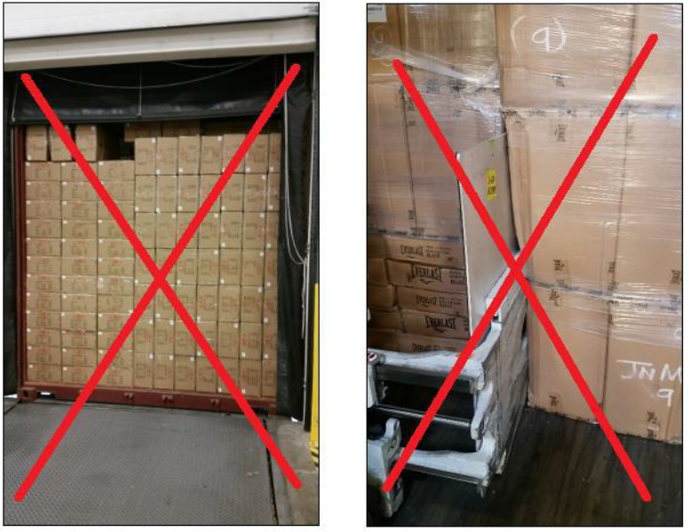 Example of an incorrectly staged floor loaded shipment