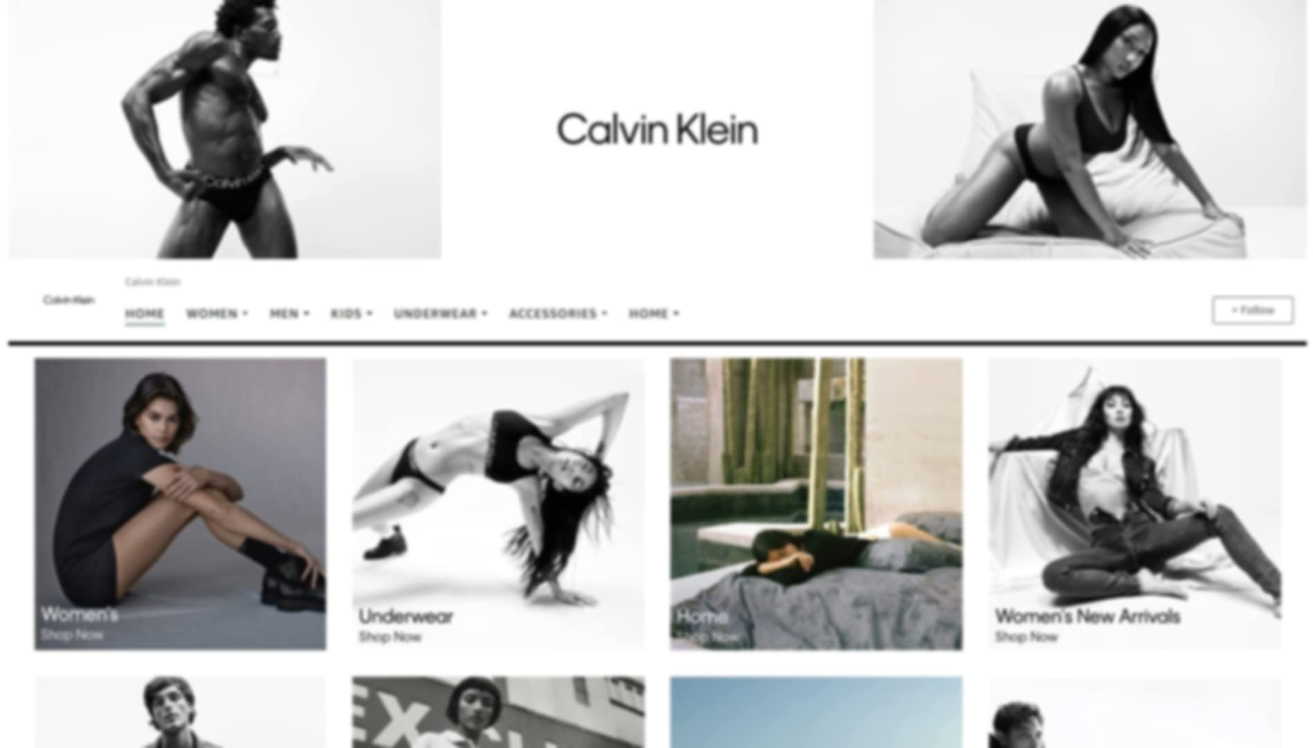 Store page of Calvin Klein  on amazon.com