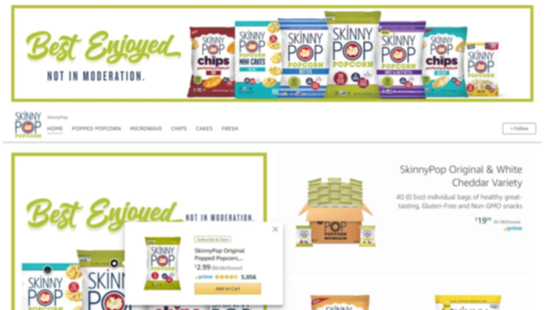 Store page of SkinnyPop of Happiness on amazon.com