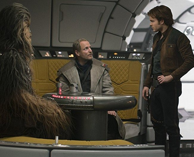 Woody Harrelson, Alden Ehrenreich, and Joonas Suotamo in Solo: A Star Wars Story (2018)