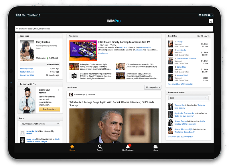 IMDbPro homepage with industry news and events