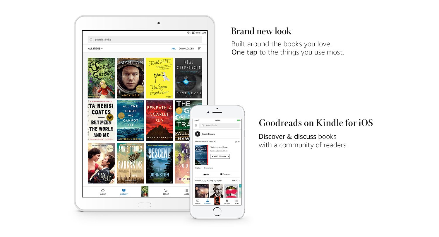 Brand new look. Built around the books you love. One tap to the things you use most. Goodreads on Kindle for iOS. Discover and discuss books with a community of readers.