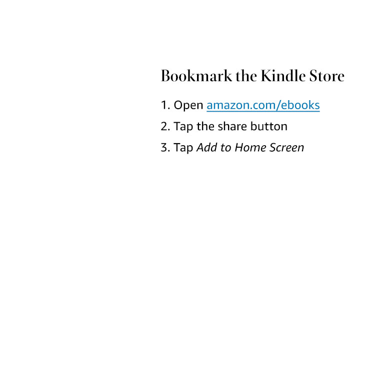 Bookmark the Kindle Store