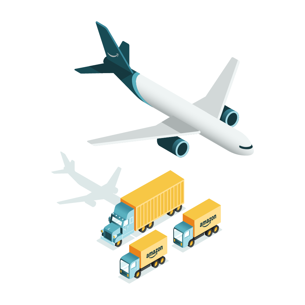 Illustration of a man standing next to an Prime Air plane and delivery truck