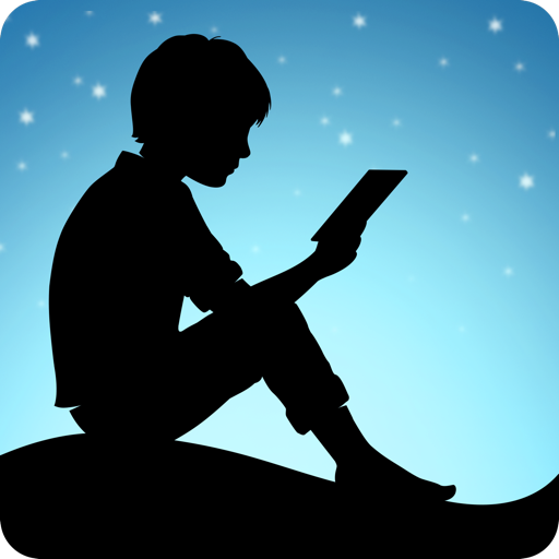 Kindle logo of boy reading on a kindle