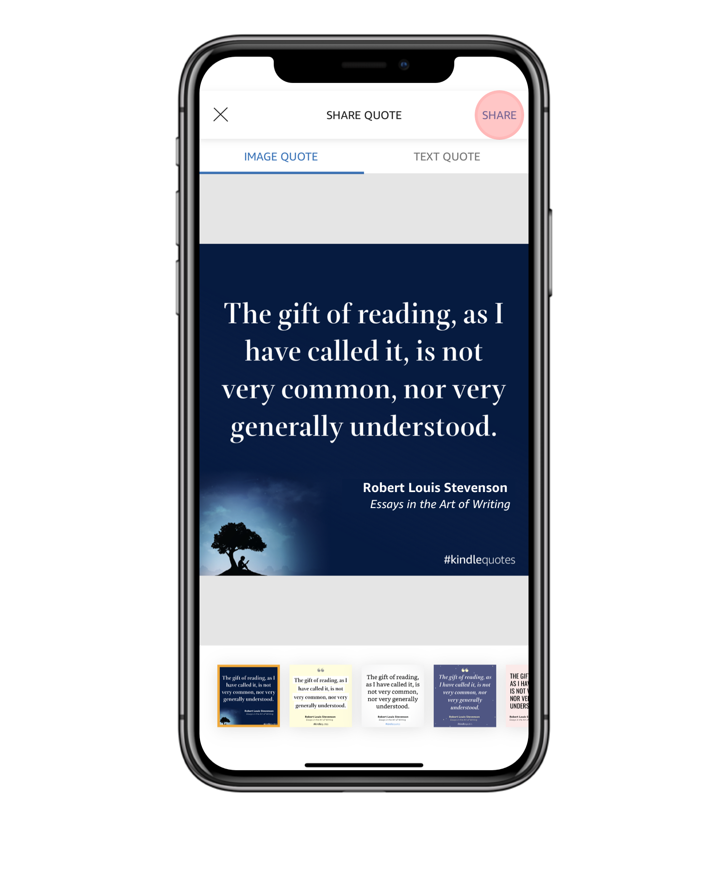 Kindle App on iPhone with Kindle Quote template selected.