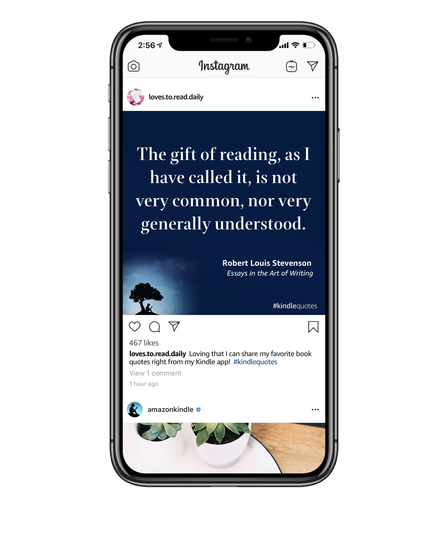 Instagram App on iPhone showing Kindle Quote post.