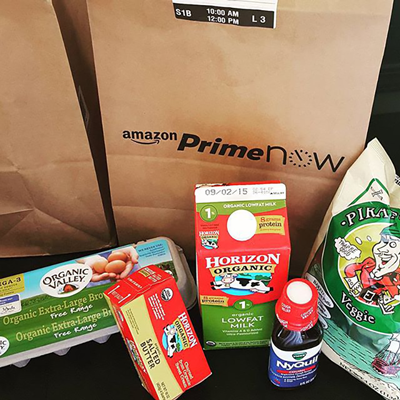 Prime Now bag and dairy products