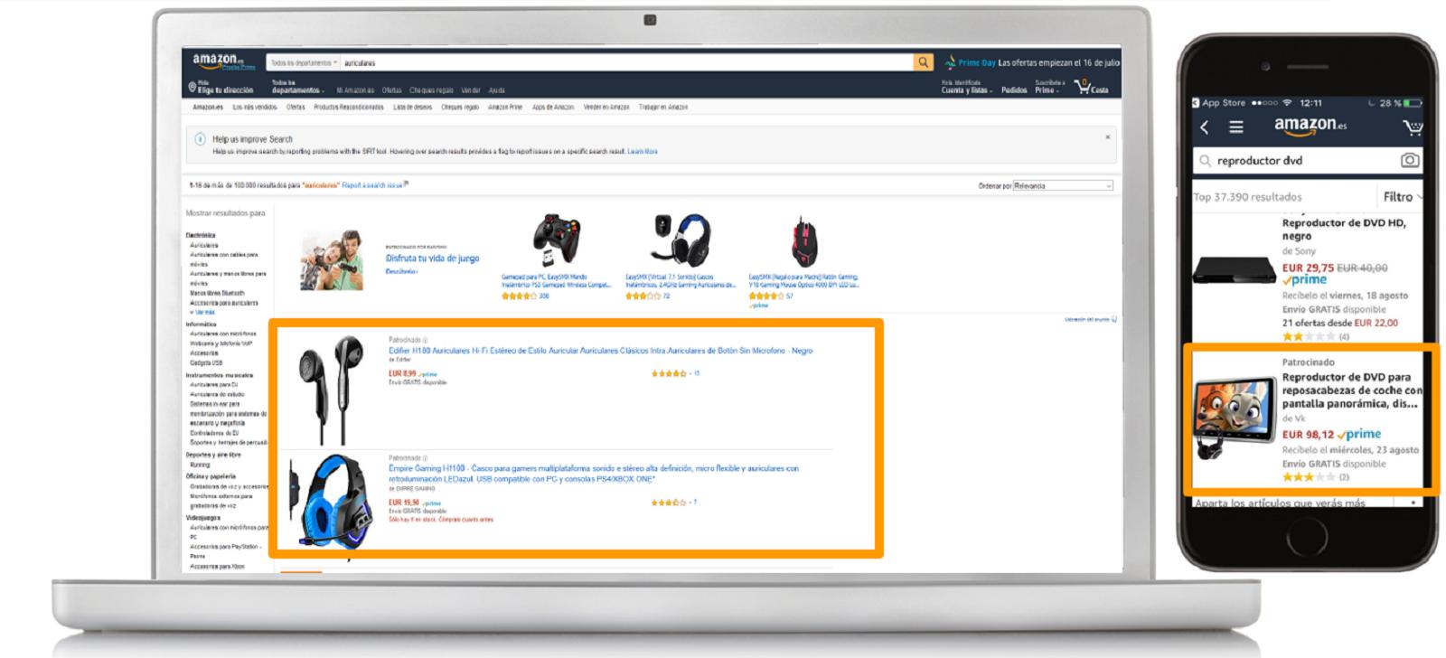 Ejemplos de Sponsored Products en escritorio y móvil