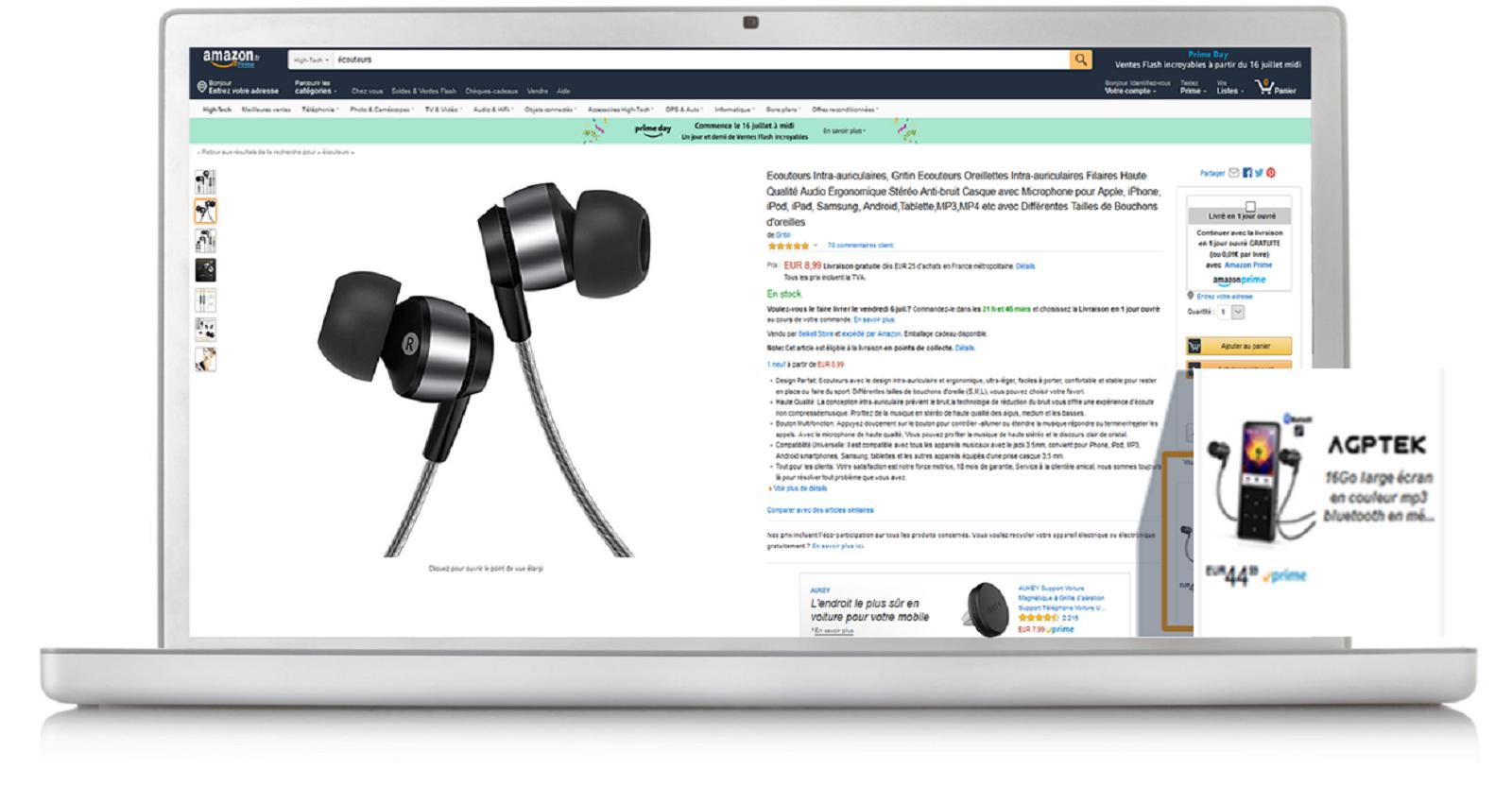 Exemples de Publicités Product Display sur ordinateur de bureau et mobile