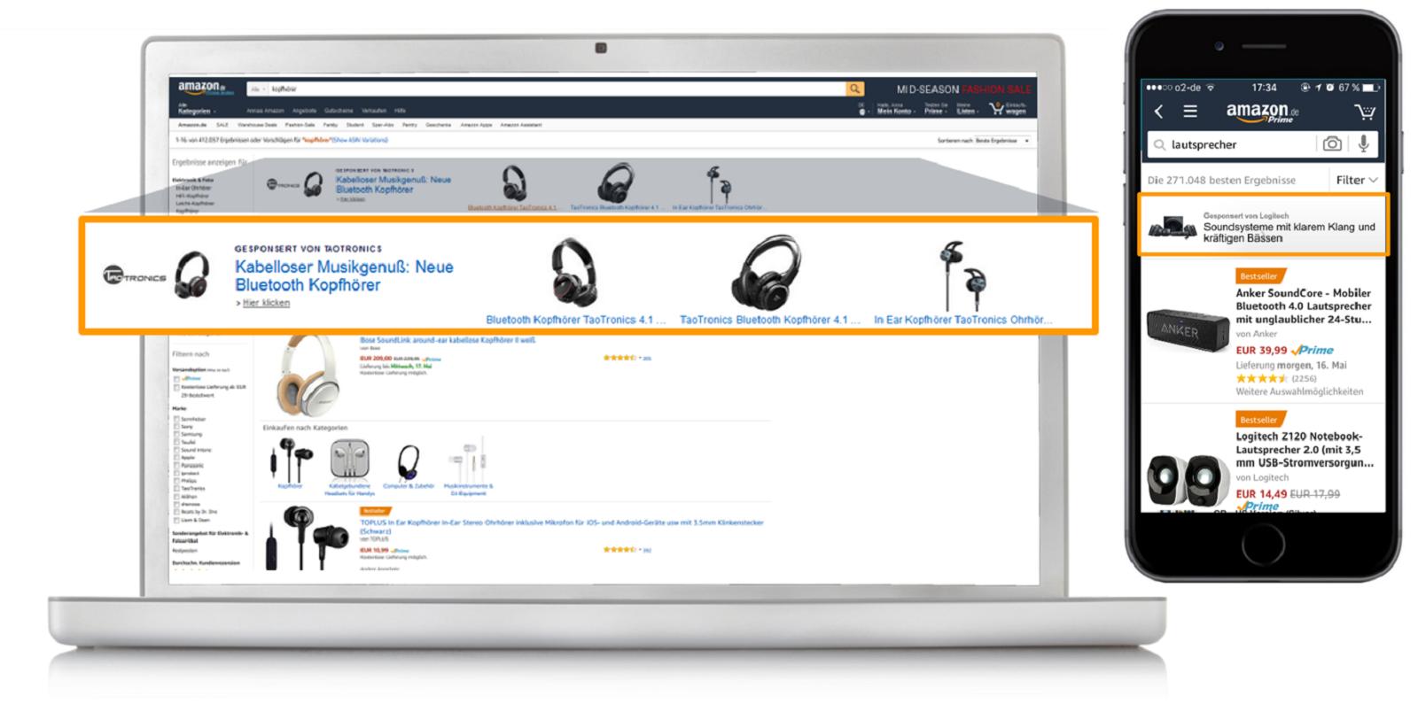 Beispiele für Sponsored Brands auf Desktop und Mobile
