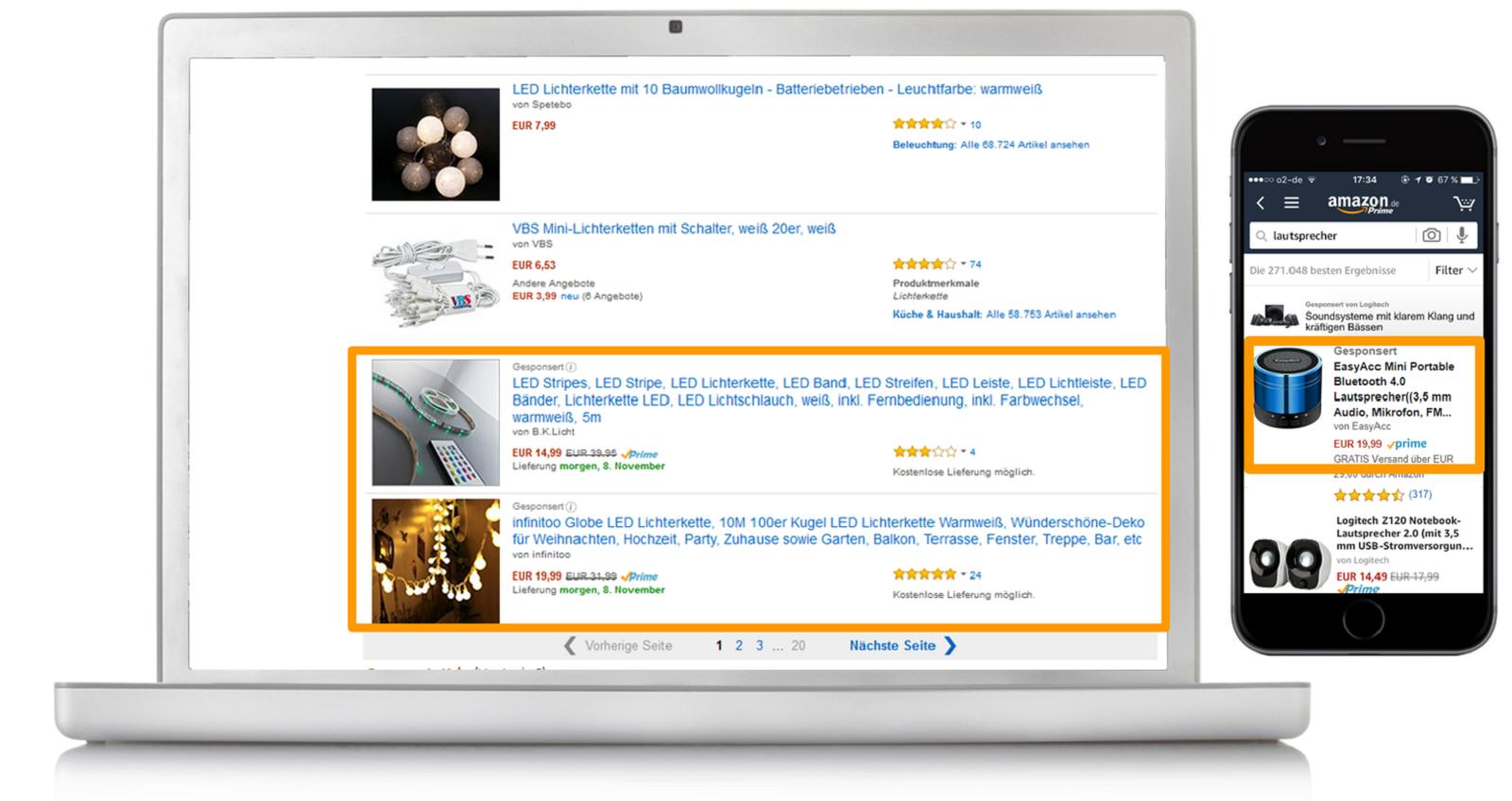 Beispiele für Sponsored Products auf Desktop und Mobile