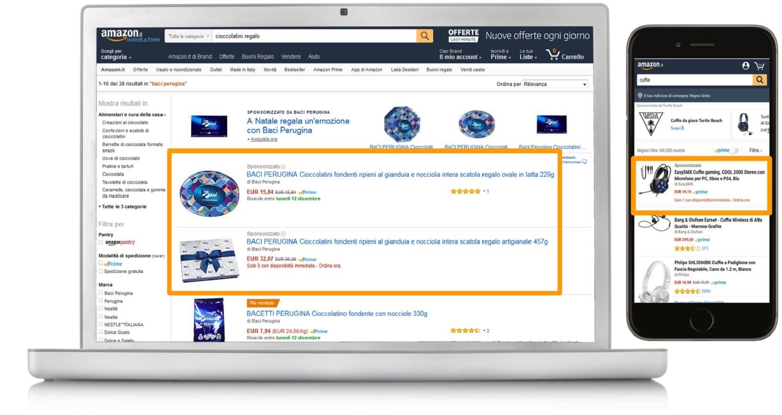 Esempi di Sponsored Products su desktop e dispositivi mobili