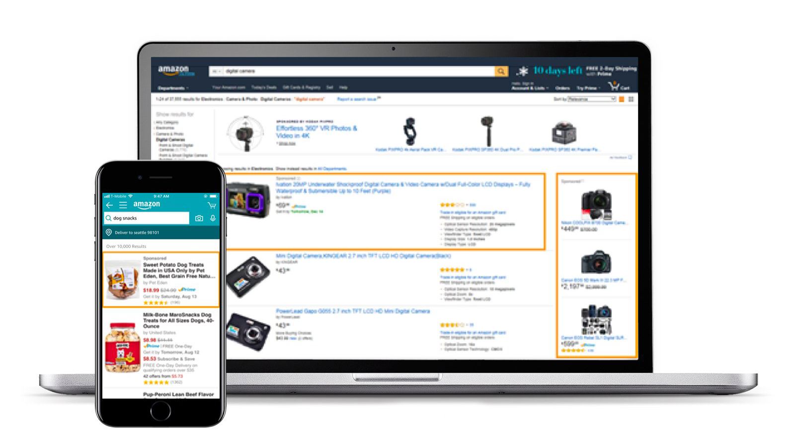Examples of Sponsored Products ads on desktop and mobile