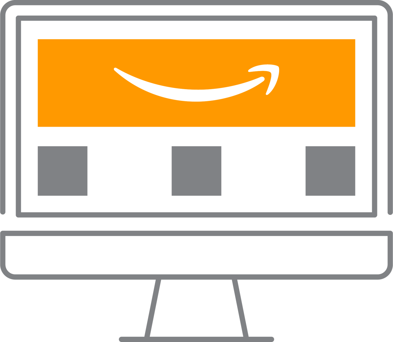 Illustration of a Store on Amazon on a computer screen