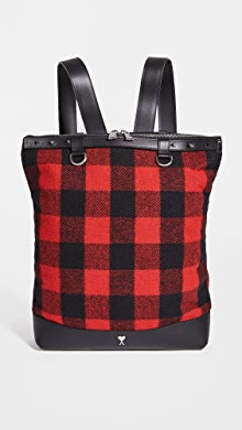 AMI Cabas Tote Bag,Black/Red