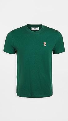 Small AMI Heart Logo T-Shirt,Green