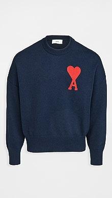 Oversize Ami De Coeur Sweater,Navy