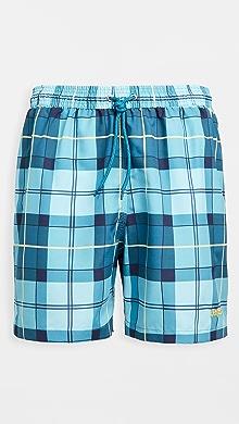 바버 Barbour Tartan Swim Shorts,Aqua Tartan