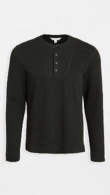 클럽 모나코 Club Monaco Double Knit Long Sleeve Henley,Black