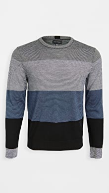 클럽 모나코 Club Monaco Block Merino Crew Neck Sweater,Navy