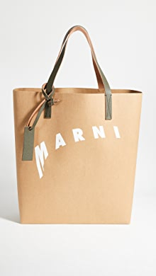 마르니 Marni Tribeca Tote,Cement/Natural White/Thyme